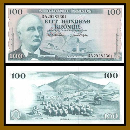 Iceland 100 Kronur, L.1961 P-44 Signature Type 2 Banknote Unc
