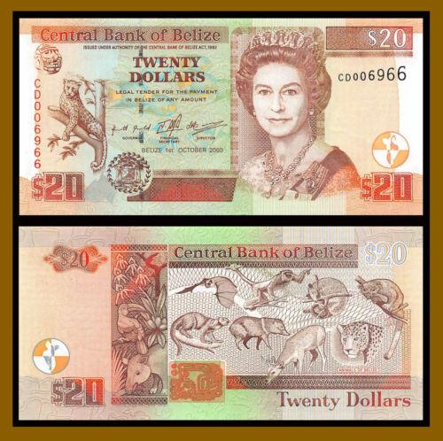 Belize 20 Dollars, 2000 P-63b (4 Digit Serial 006966)  Q. Elizabeth II Unc /LA69