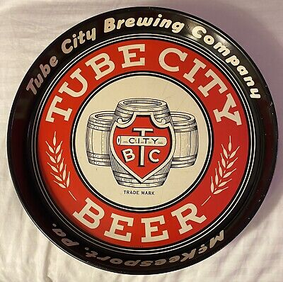 """SWEET! TUBE CITY BEER 12"""" tin Serving tray McKeesport Pa Pittsburgh"""