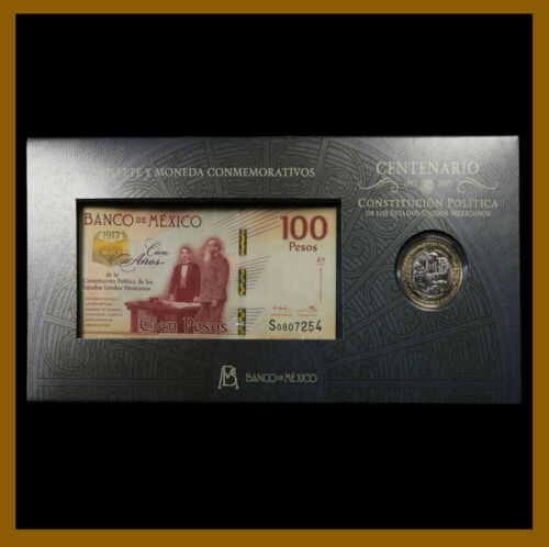Mexico 20 & 100 Pesos (Coin & Banknote Bank Folder Set), 2016/2017 Comm 100 Year