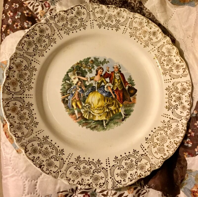 W.S. George 22 Carat Gold Colonial Scene Plate