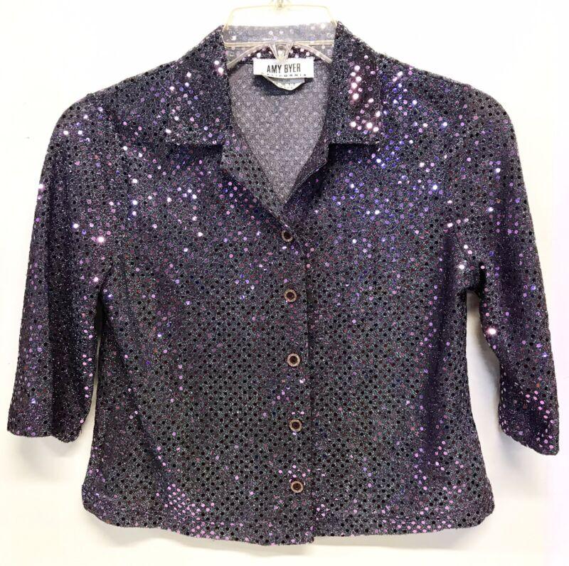 Women Vintage Retro Top Blouse Silver Lamé Purple Girls XL Womens XS Costume