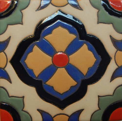 Mexican Tiles High Relief Ceramic Cuerda Seca Malibu Santa Barbara Tiles CS-58