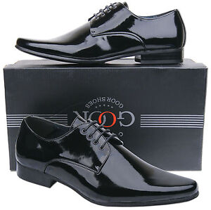Mens-New-Black-Lace-Up-Leather-Lined-Patent-Dress-Wedding-Shoes-Free-UK-Postage