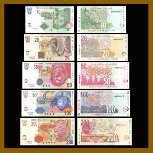 South Africa 10 20 50 100 200 Rand (5 Pcs Full Set), 2005 P-128a-132a Lion Unc