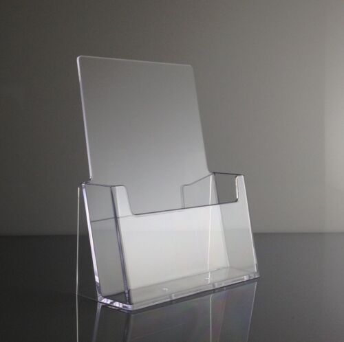 """Clear Acrylic 6"""" Wide Half Page Brochure Holder Display Stands - Lot of 6"""