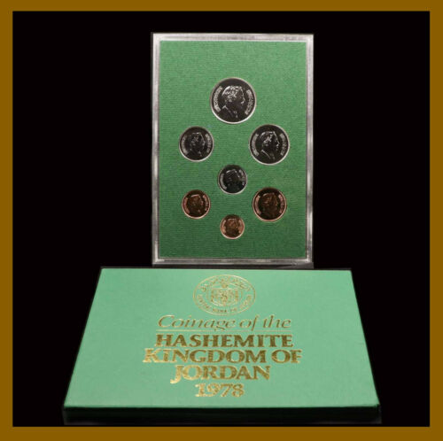 Jordan Fils & Dinar Coins (7 Coin Proof Set), 1978 Hashemite Kingdom