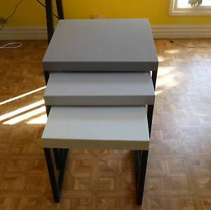 Nest of three metal coffee tables: 2 grey 1 white North Narrabeen Pittwater Area Preview