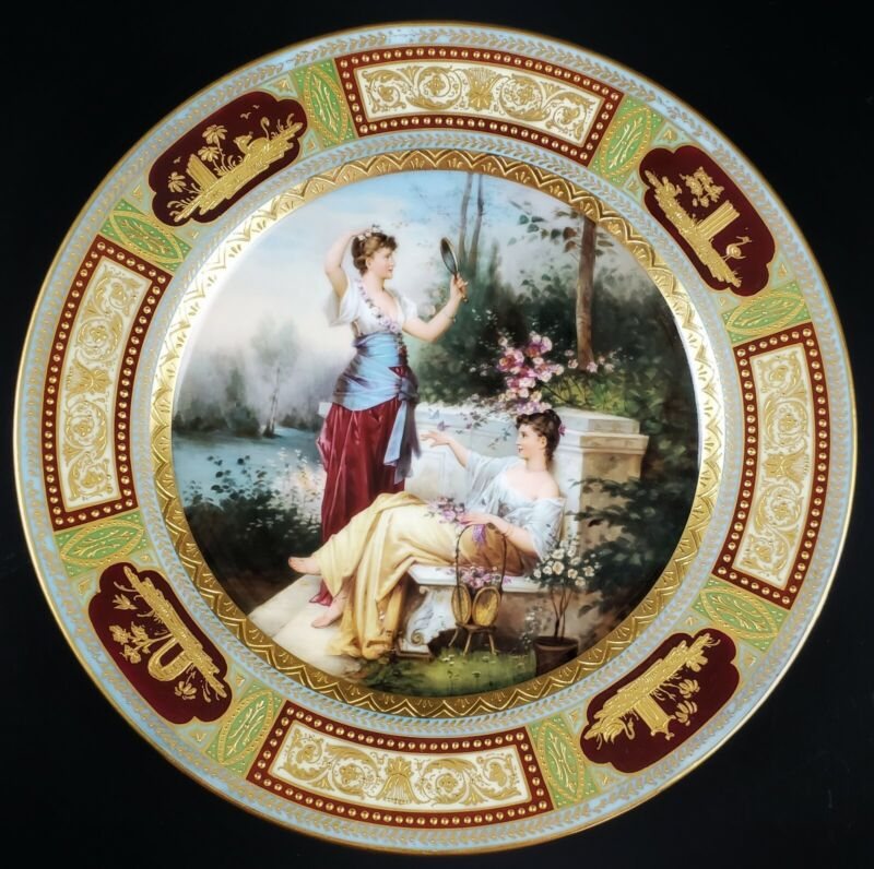 Antique Royal Vienna Hand Painted Porcelain Plate Two Beautiful Ladies
