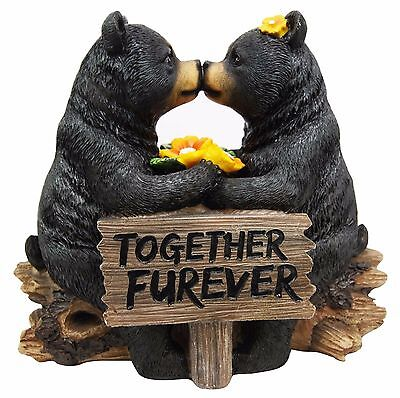 """7""""H Romantic Black Bear Couple In Courtship By Wooden Log Decorative Figurine"""