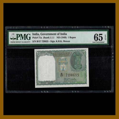 India 1 Rupee, 1949 P-71a PMG 65 EPQ Unc Rare Signature