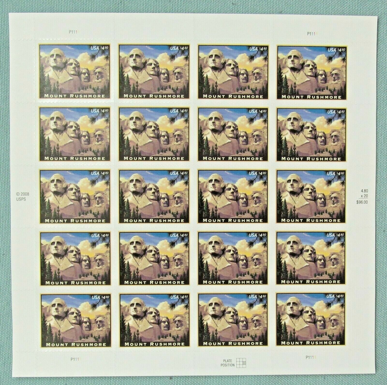 Купить New One (1) Sheet of 20 of MOUNT RUSHMORE $4.80 US PS Postage Stamps. Scott 4268