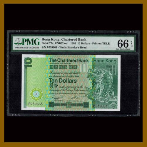 Hong Kong 10 Dollars, 1980 P-77a KNB52a-d PMG 66 EPQ Chartered Unc /LA