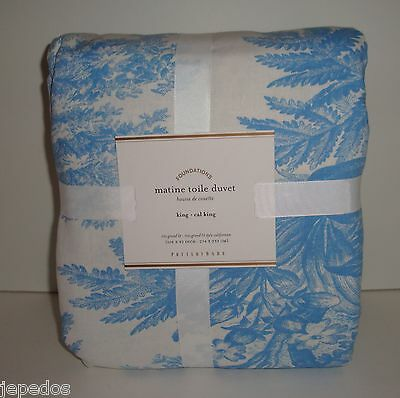 Pottery Barn Matine Toile King Duvet Cover NWT French Blue on Lookza