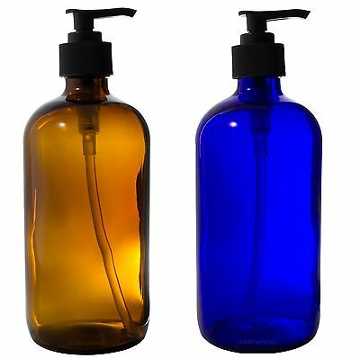 Cobalt Blue and Amber Boston Round 16 oz Glass Lotion Pump Bottle Set + Labels Cobalt Blue Glass Pump