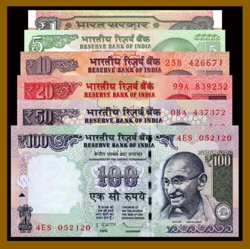 India 1 5 10 20 50 100 Rupees (6 Pcs Set), 2012-2017 P-New Gandhi Unc