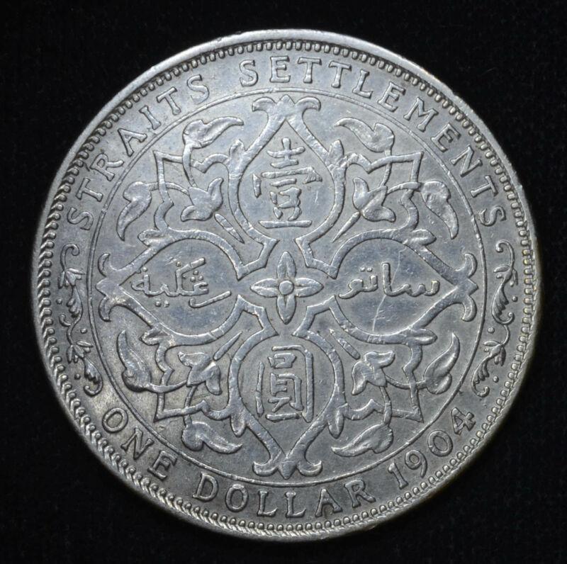 Straits Settlements $1 Dollar 1904 B EF XF AU silver KM#25 1$ Blast White