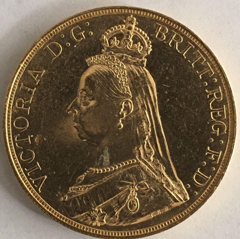 1887 Queen Victoria Jubilee Head £5 Five Pound Sovereign Gold Coin You GRADE