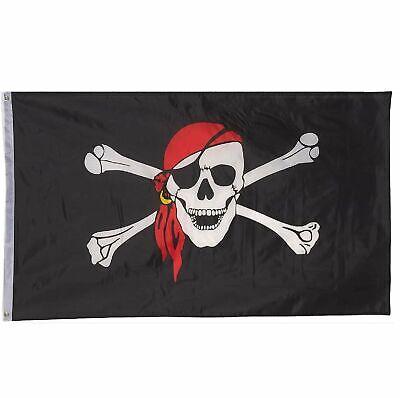 3×5′ Jolly Roger Pirate Bandana Red Hat Skull Crossbones Flag 3'x5′ House Banner Décor
