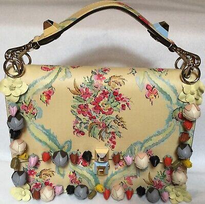 NWT FENDI FLORAL, FLOWER BUTTER YELLOW HANDBAG SHOULDER BAG Detachable Straps