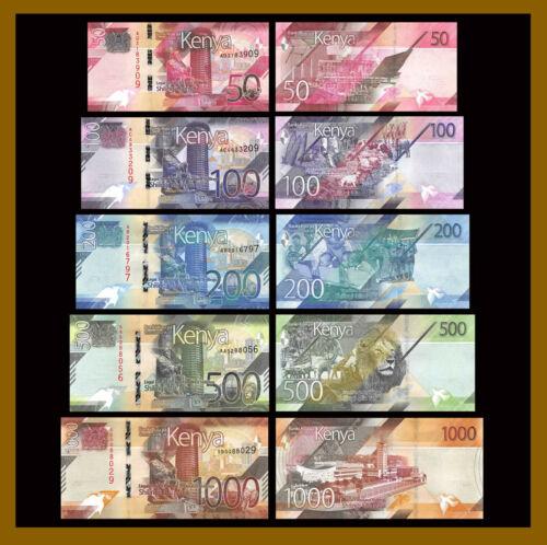 Kenya 50 100 200 500 1000 (1,000) Shillings (5 Pcs set), 2019 P-New Unc