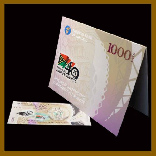 """Vanuatu 1000 Vatu, 2020 P-New Low S/N """"VU 40 000862"""" 40th Comm Polymer W/ Folder"""