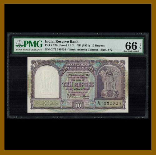 India 10 Rupees, 1951 P-37b Sig.# 72 PMG 66 EPQ Unc