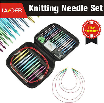 LAYOER Interchangeable Knitting Needle Set 13 Sizes Aluminum Circular 2.7mm-10mm