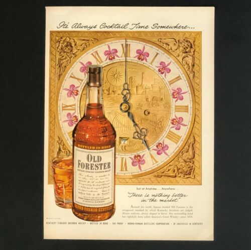 1950 Old Forester Whisky Bourbon Advertisement John Howard Clock Vtg Print AD
