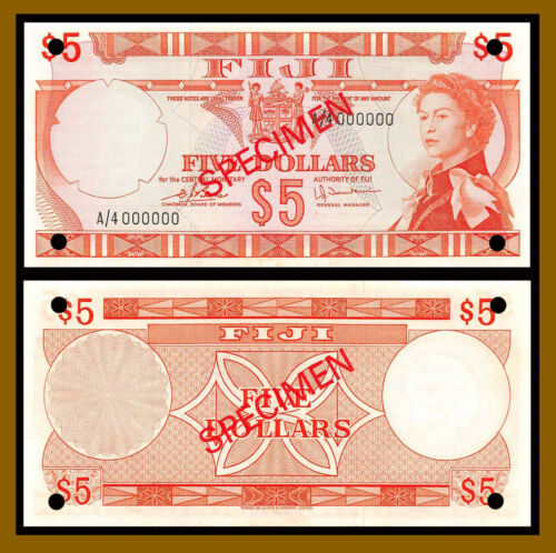 Fiji 5 Dollars, 1974 P-73s9 Sig Tomkins QE II Specimen Banknote Unc