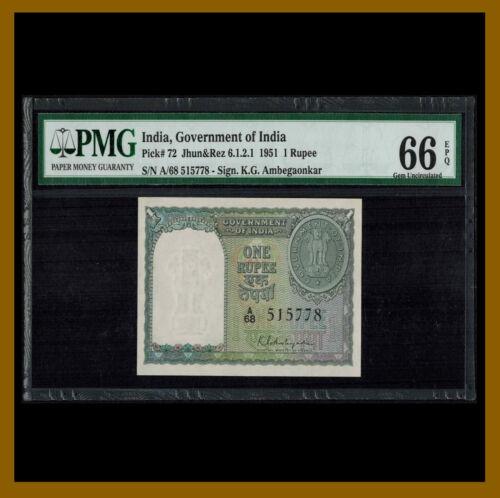 India 1 Rupee, 1951 P-72 PMG 66 EPQ Unc