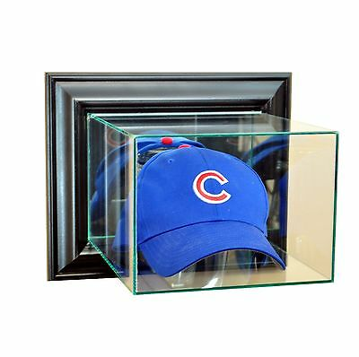 (New Wall Mounted Cap / Hat Glass Display Case UV Black Molding FREE SHIPPING)