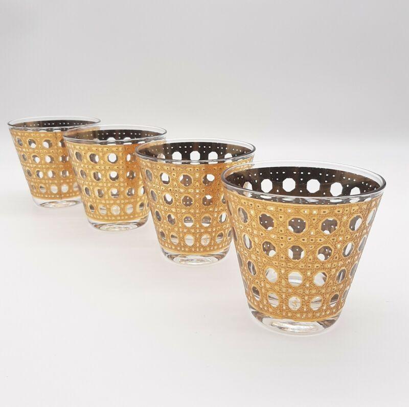4 Culver Cannella Old Fashioned Rocks 22Kt Gold Cane Basketweave Glasses MCM