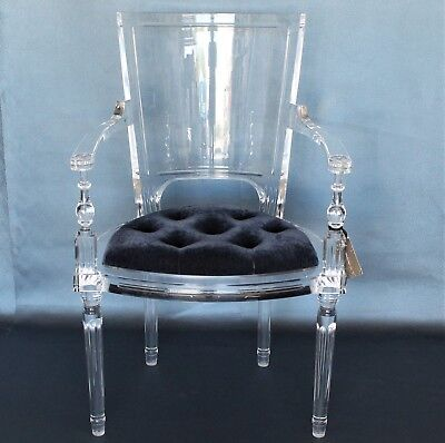 Lucite Arm Chair Marilyn Blue Tufted Seat Cushion Hollywood Regency Juliet