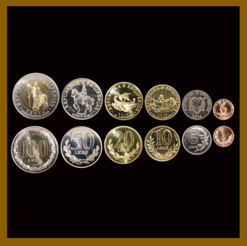 Albania 1 5 10 20 50 100 Leke (6 Pcs Coin Set), 2000-2018 Bimetallic Unc