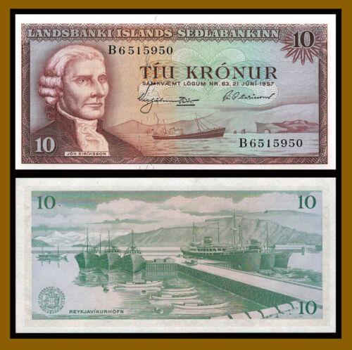 Iceland 10 Kronur, L.1957 P-38b Banknote Unc