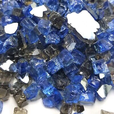 """VIVID Ocean Blue, Bronze Premium Blend 1/2"""" Fireplace Fire Pit Fireglass Glass"""