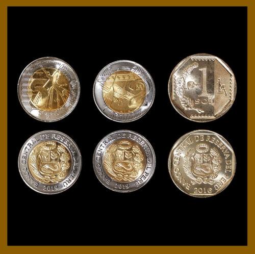 Peru 1 2 5 Soles (3 Pcs Coin Set), 2016-2019 Bimitalic Mint Unc
