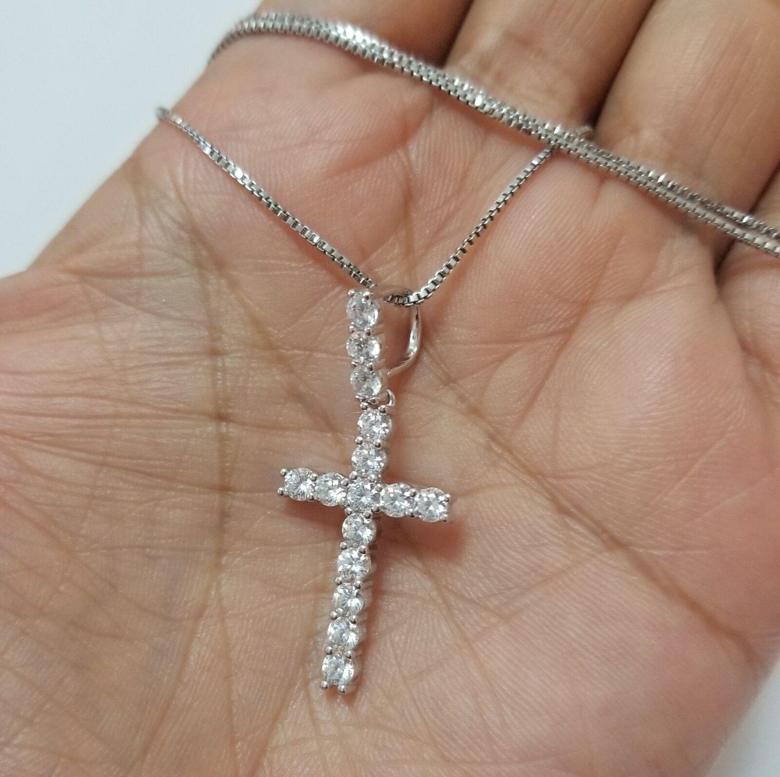 925 Sterling Silver Women Diamond Cross Pendant Necklace