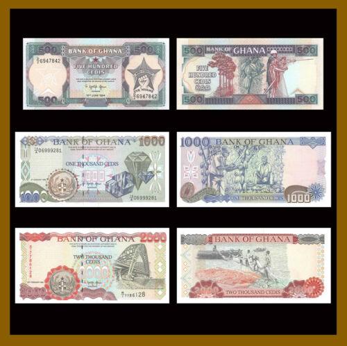 Ghana 500 1000 2000 Cedis (3 Pcs Set), 1986-1996 P-28/29/30 Unc