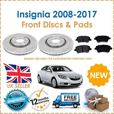 For Insignia 2008-2017 Front Vented 296MM Brake Discs & Brake Pads Set New