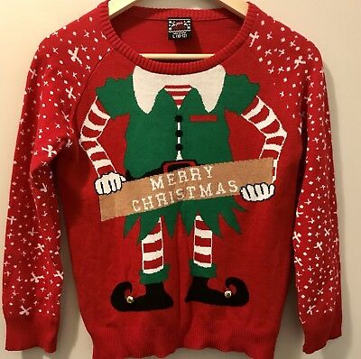Christmas Sweater Girls Red Elf Size L Large 100% Cotton NEW Ugly Christmas  (Ugly Christmas Sweater Girls)