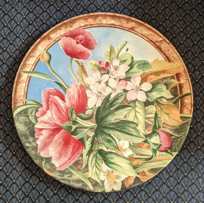 """Gien France Lg 12"""" Round Volupte Ceramic Floral Cake Chop Plate Platter Signed"""