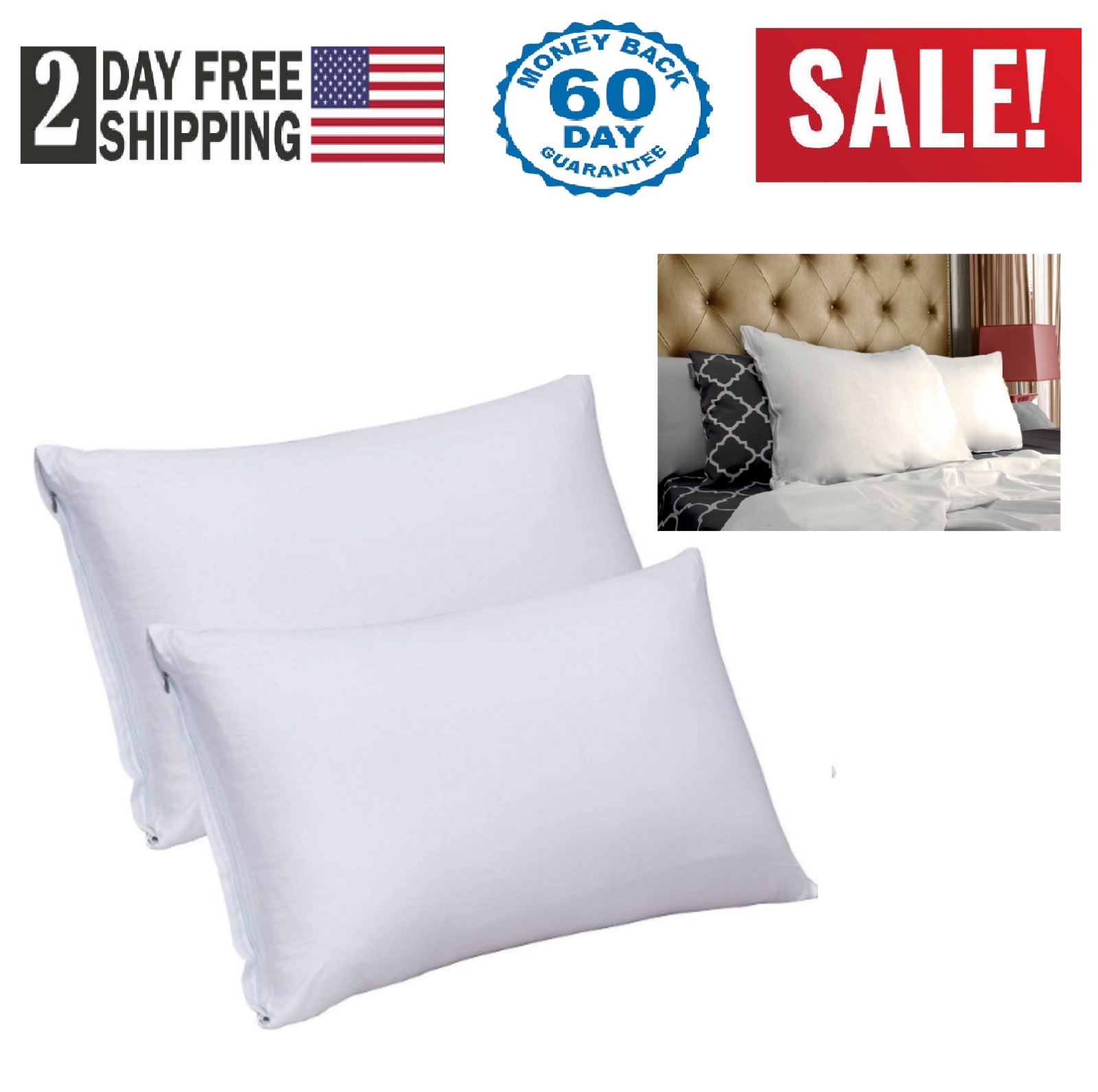 2 Pack White King Size Cotton Pillow Case with Zipper Elegan