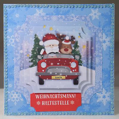 Ausgefallene 3D Karte,Handarbeit, Weihnachtskarte, Weihnachtsmann, Rentier, Auto