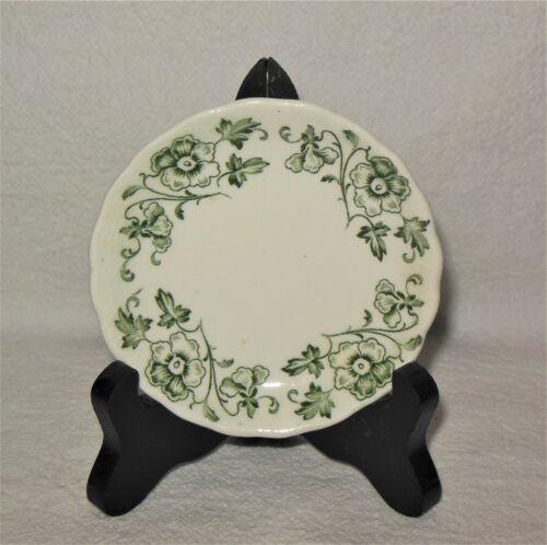 Vtg Antique Butter Pat W Hulme Burslem England Ascot Green Floral ~ Numbered