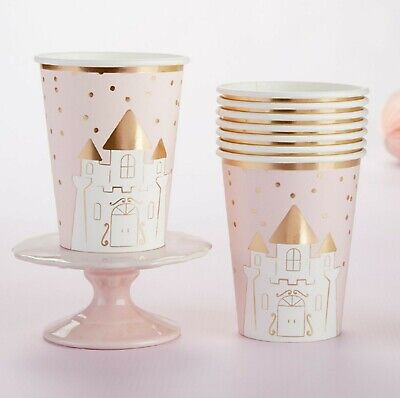 8 Princess Pink Gold Cups Enchanted Fairy Tale Birthday Party Decor MW36938