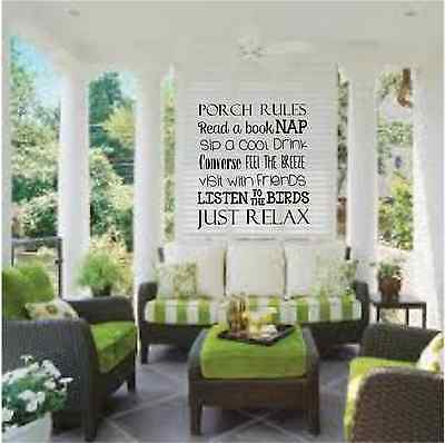 Porch Rules Front or Back Porch Vinyl Decal Wall Art Decor Sticker