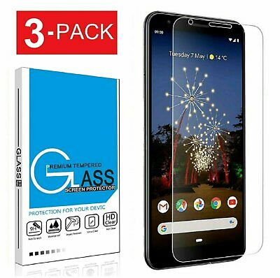 (3-Pack) Google Pixel 3a / 3a XL Case Friendly Tempered Glass Screen Protector Cell Phone Accessories