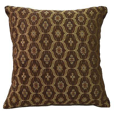 we61a Brown Gold Damask Check Chenille Throw Pillow Case/Cushion Cover*Cust - Halloween Cust